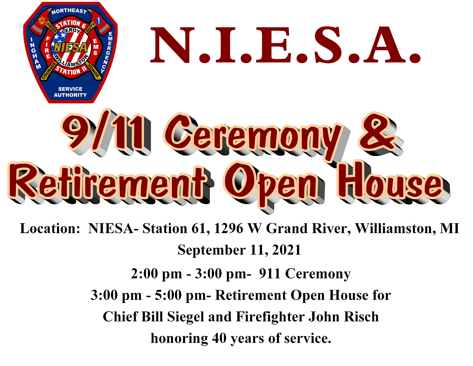 2021 9/11 Ceremony and Retirement Open House